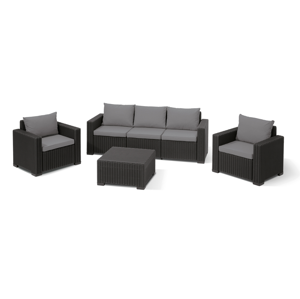 Allibert CALIFORNIA 3 SEATERS Set - antracit + sivé podušky