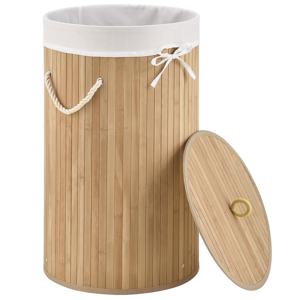 Eshopist Bambusový kôs na prádlo Curly okrúhly, natúr s vrecom na bielizeň a s uškami na prenášanie