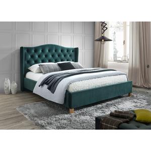 Eshopist Čalúnená posteľ ASPEN VELVET 160 x 200 cm farba zelená/dub