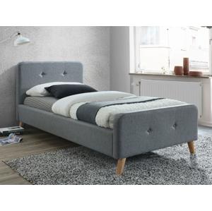 Eshopist Čalúnená posteľ MALMO 90 x 200 cm farba sivá/dub