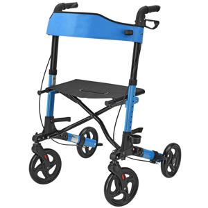 Eshopist Hliníkové chodítko Rollator Vital, čierne, s plochou na sedenie a modrou nákupnou taškou