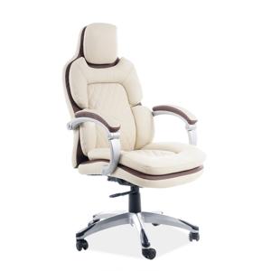 Eshopist Kancelárska stolička Q-388 krémová/hnedá eko koža