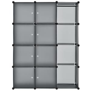 Eshopist Šatníková skriňa s 12 variabilnými krabicami v tmavo šedej farbe, 105 × 35 × 140 cm
