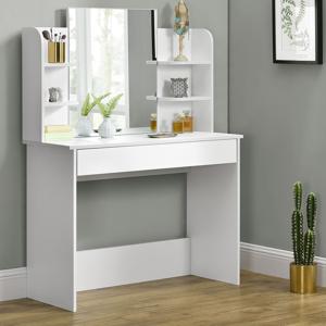 """Eshopist Toaletný stolík """"Bella"""" biely so zrkadlom, bez taburetky"""