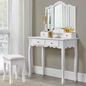 "Eshopist Toaletný stolík ""Emma"" biely so zrkadlom a stoličkou"
