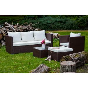 """Polyratanový záhradný nábytok """"AMARO"""" v hnedej farbe s bielymi vankúšmi"""